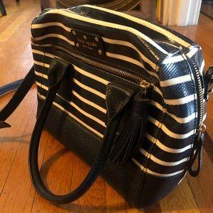 Kate Spade striped leather handbag purse navy